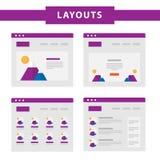 Set prości płascy strona internetowa szablony ilustracja wektor