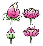 Set prości lotosowi kwiaty ilustracja wektor
