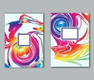Set prości ulotki, wizytówki, plakata lub pokrywy projekta szablony z kolorowymi abstrakcjonistycznymi punktami, Zdjęcia Stock