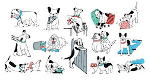 Set of problem with bad dog behaviour collection. Silly puppy barks, run off, goes to the toilet, digs in the garbage. Colorful doodle set. Cute vector hand vector illustration