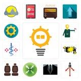 Set of problem management, approach, dress code, extend, car seat, crash, registe nurse, tour guide, transparent gear icons. Set Of 13 simple editable icons such Stock Photos