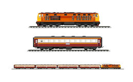 Set procession train. Vector Illustration: set procession train include diesel-electric locomotive and compartment and railroad tracks isolated on white Stock Images