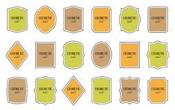 Set of product labels. Cosmetic or food packaging. Set of product label templates. Different shapes. Cosmetic or food packaging Stock Photos