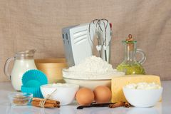 Set of products for baking and mixer Stock Photography