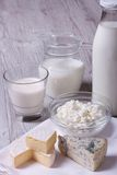 Set of products brie, blue cheese, cottage cheese and milk Stock Photo