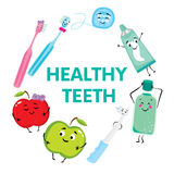 A set of products for the care of teeth and oral cavity. Dental floss, toothpaste, toothbrushes, mouthwash, drill and apples. Stom. Atology Stock Photography