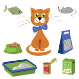 Set of products for cats. Vector illustration. Stock Image