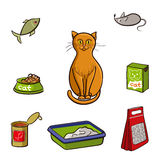 Set of products for cats. Vector illustration. Stock Photos
