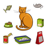 Set of products for cats. Vector illustration. Stock Photo