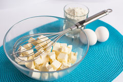 Set of products for cooking muffins on the  napkin Stock Images