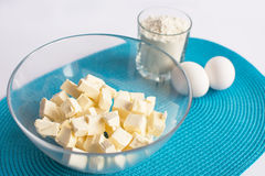 Set of products for cooking muffins on the  napkin Royalty Free Stock Photo