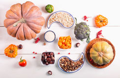 A set of products for cooking stewed vegetables with pumpkin. Stock Photos