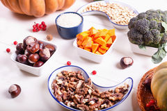 A set of products for cooking stewed vegetables with pumpkin. Royalty Free Stock Image