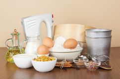 Set of products and an Easter cake baking dish Royalty Free Stock Photos