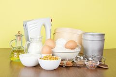 Set of products and an Easter cake baking dish Stock Photo