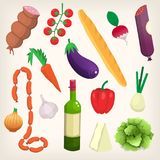 Set of products for everyday cooking. Set of food and products purchased at organic market. Poster with vector illustration of food Royalty Free Stock Photo