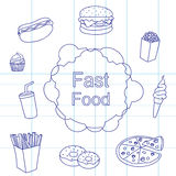 Set of products fast food Royalty Free Stock Images