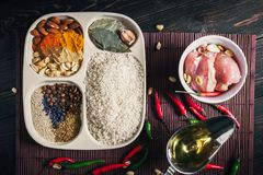 A set of products for preparation of rice with chicken of Chinese cuisine, the top view. A close up stock image