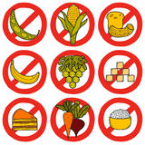 Set of products prohibited during paleo diet in Royalty Free Stock Image