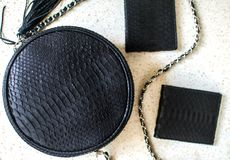 Set of products which made of python leather. Black luxury bag, and purset, wallet. Purse for man, wallet for woman. Fashion stock image