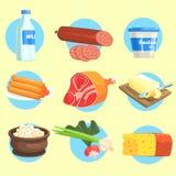 Set produktów rolniczych Kolorowi majchery Zdjęcie Royalty Free