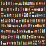 Set Produkte supermarkt Nahrung lizenzfreie abbildung