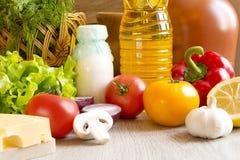 Set produkty na stole Zdjęcie Royalty Free