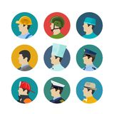 Set of profession icons. Isolated in circle. Soldiers and builder, fireman and a cook, a doctor and captain. Vector illustration Royalty Free Stock Photos