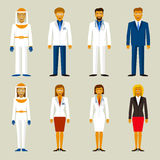 Set of profession. People couple. Beekeepers, businessman, scientists and doctors.  Stock Images