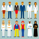 Set of profession. People couple. Beekeepers, bussinesman, scientists, doctors, circus , arab men and women. Royalty Free Stock Photos