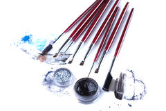 Set of professional brushes for eye makeup Stock Images
