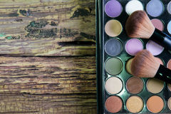Set of professional brushes for a make-up of eyes, a palette of Royalty Free Stock Images