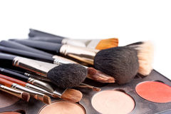 Set of professional brushes with the Pallette of shadows Stock Image