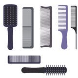 A set of professional combs and massage brushes for hair. Individual items for combing hair. Hairbrushes for home hairdressing salons and beauty salons Royalty Free Stock Photo