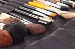 Set  professional cosmetic brushes for make-up background. Royalty Free Stock Image