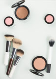 Set of professional cosmetic: make-up brushes Stock Photos