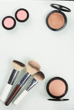 Set of professional cosmetic: make-up brushes Stock Images