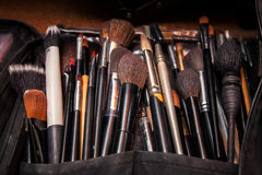 Set professional cosmetics brushes of professional makeup artist Royalty Free Stock Photos