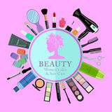 Set of professional cosmetics, various beauty tools and products: hairdryer, mirror, makeup brushes, shadows, lipstick. Nail polishes, creams, powder, scissors Royalty Free Stock Photography