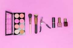 Set of professional decorative cosmetics, makeup tools and acces Royalty Free Stock Images