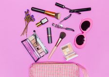 Set of professional decorative cosmetics, makeup tools and acces Stock Images
