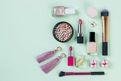 Set of professional decorative cosmetics, makeup tools and accessory isolated on pastel background. beauty, fashion and royalty free stock photos