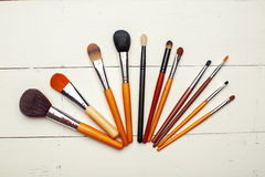 Set of professional different sizes make up brushes Royalty Free Stock Images
