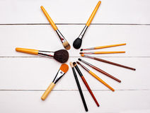 Set of professional different sizes make-up brushes Royalty Free Stock Images