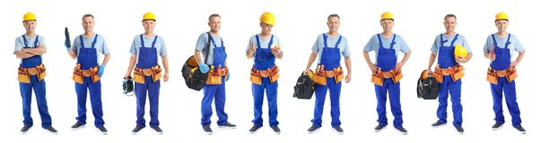 Set with professional electrician and tools. On white background stock photos