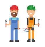 Set of professional engineering workers people building team in helmets builders flat vector illustration. Stock Photography