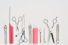 Set of professional hairdresser tools. Isolated on white background stock image