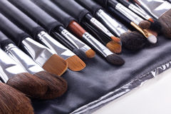 Set of professional make-up brushes Stock Images