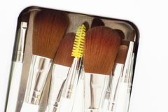 Set of professional make up brushes. Make Up Beauty Concept. Set of make up brushes for lipstick, eyeshadows, foundation, powder, eyeliner and blusher in a metal Royalty Free Stock Photos