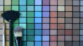 Set of professional make-up brushes with the Pallette of shadows Royalty Free Stock Photography